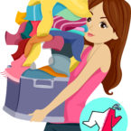 28160644 - illustration of a girl carrying a huge pile of laundry